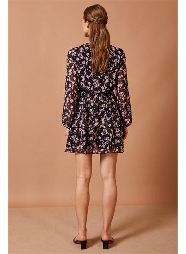Never More Çiçek Desenli Şifon Elbise Renkli